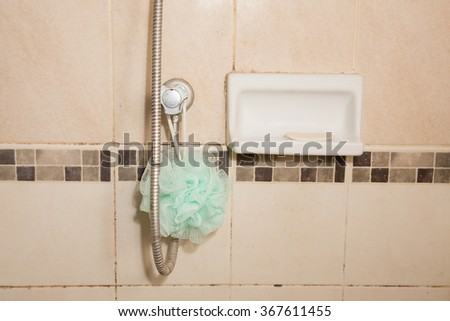soap in the bathroom on wall room background.