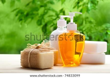 Soap - liquid and bars - stock photo