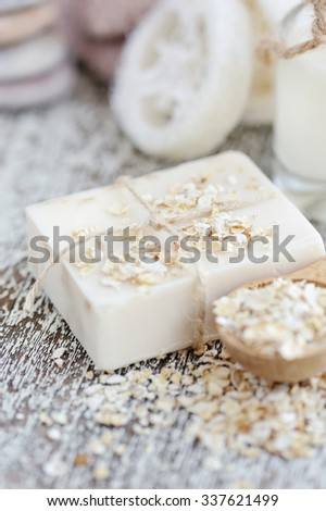 Soap oatmeal handmade for a Natural Clean - stock photo