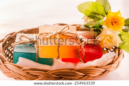 Soap.Set for spa in wicker basket, isolated on white backgrounds  - stock photo
