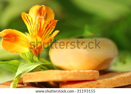 Soap with lily. Health care - stock photo
