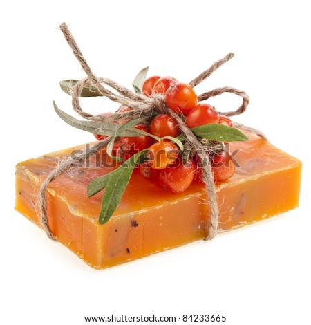 soap with sea-buckthorn oil  isolated on white - stock photo