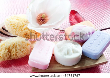 Soaps and flower