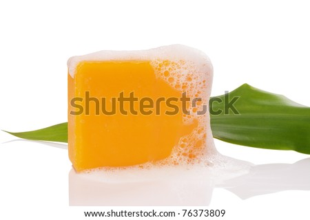 soaps and leaf on white with clipping paths - stock photo