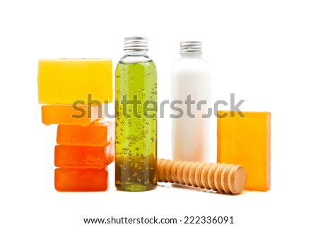 soaps and lotions for spa - stock photo