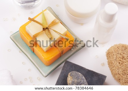 soaps with accessory top view - stock photo