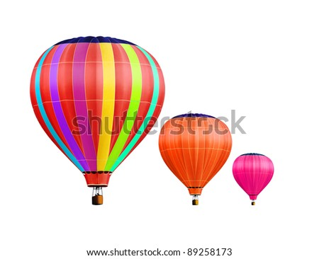 soar hot air balloons on white background with path - stock photo