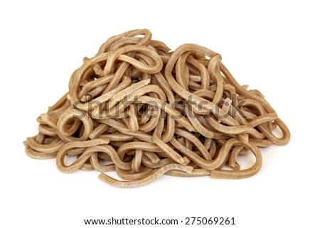 Soba noodles isolated on white background. - stock photo