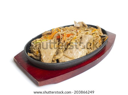Soba noodles with meat - stock photo