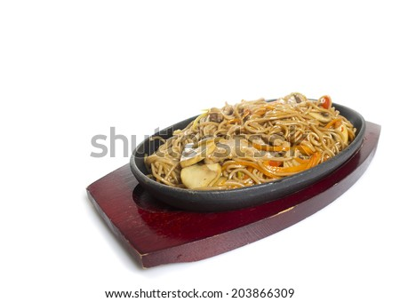 Soba noodles with seaweeds - stock photo