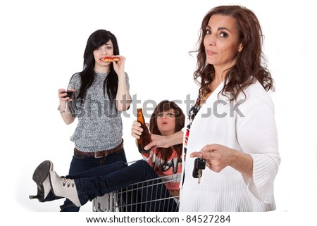 Sober mother taking car keys away from drunk party girls - Focus on Mother - stock photo
