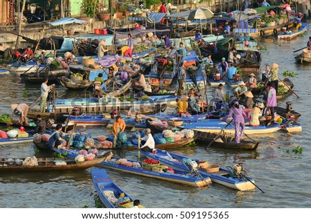 Soc Trang, Vietnam - Feb 2, 2016. View of Nga Nam floating market in Soc Trang, southern Vietnam. Nga Nam is one of busiest markets in southern Vietnam.