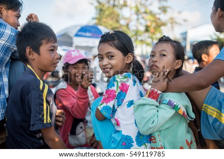 Soc Trang, Vietnam - November 13, 2016: Local kids in Soc Trang, November 13, 2016, Vietnam.