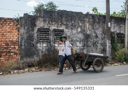 Soc Trang, Vietnam - November 13, 2016: Local people in Soc Trang, November 13, 2016, Vietnam.