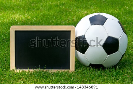 Soccer and Chalkboard - stock photo