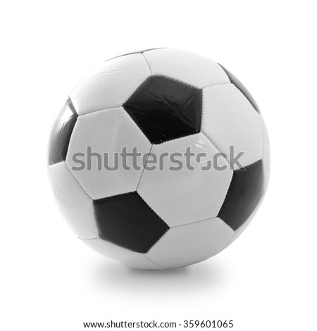 Soccer and football ball isolated on white - stock photo