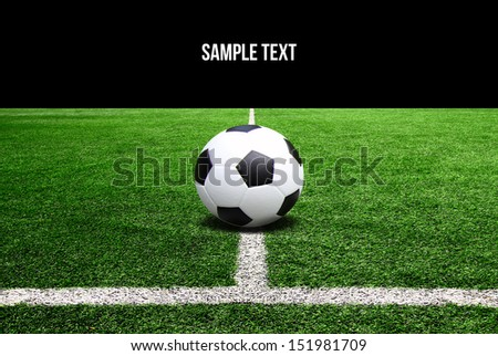 Soccer and football field grass on the green corner - stock photo