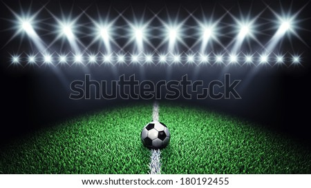 Soccer arena and ball with floodlights , Football field - stock photo