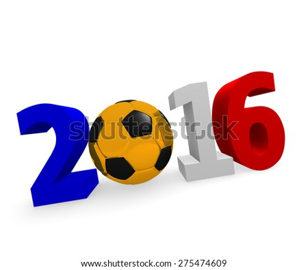 Soccer background 2016 with a golden socce ball and the flag of France - stock photo