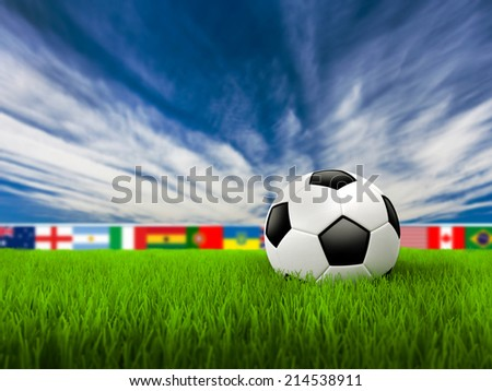 Soccer Background with Ball, Grass and Blue sky - stock photo