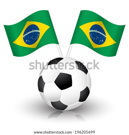 Soccer background with soccer ball and brazil flags.