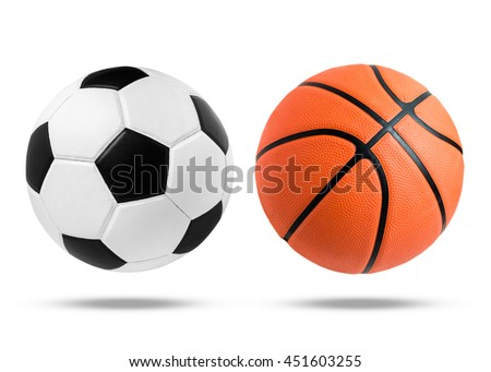Soccer ball and Basketball ball closeup image. Soccer ball and Basketball ball isolated on white background. black and white color soccer ball. Orange color Basketball.  - stock photo