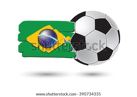 Soccer ball and Brazil Flag with colored hand drawn lines