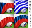 soccer ball and flag czech russia poland greece on green grass - stock photo