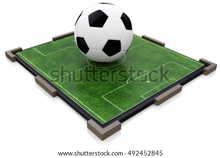 Soccer ball and football field in the design of information related to sports. 3d illustration