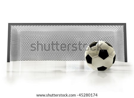 soccer-ball and goal isolated white color - stock photo