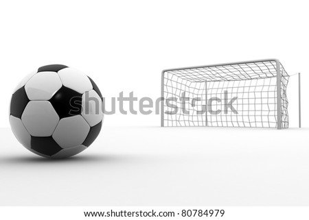 Soccer ball and goal post - stock photo