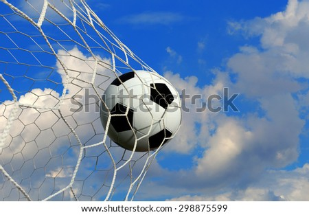 soccer ball and sky background