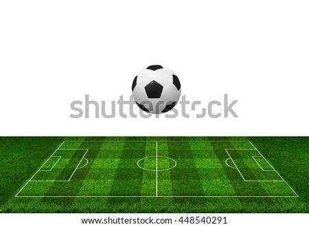 Soccer ball and soccer football field isolated on white background with clipping path. - stock photo