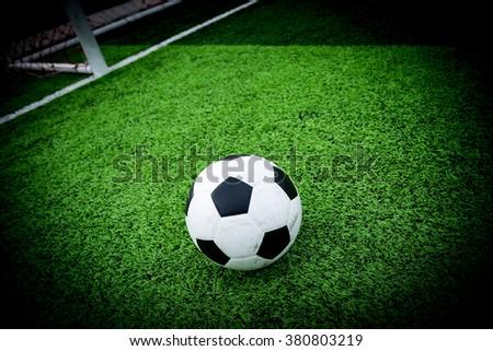 Soccer ball and soccer goal - stock photo
