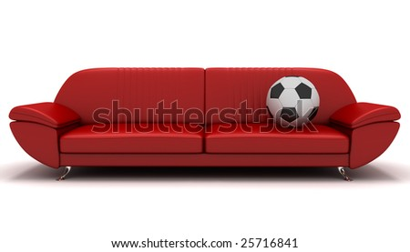 soccer ball and sofa - stock photo