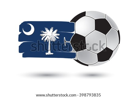 Soccer ball and South Carolina State Flag with colored hand drawn lines - stock photo