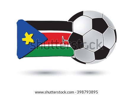 Soccer ball and South Sudan Flag with colored hand drawn lines - stock photo