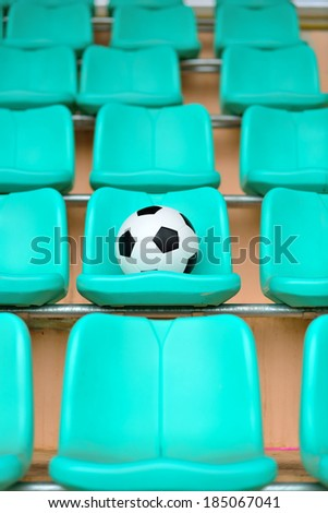 Soccer ball and Sport stadium  - stock photo
