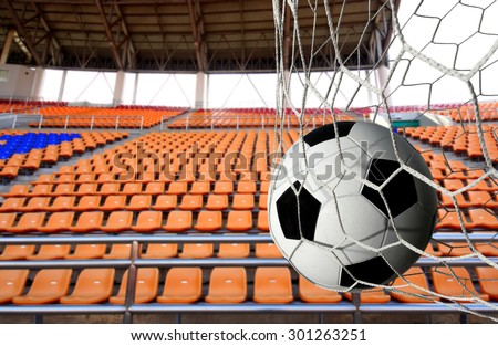 soccer ball and Stadium seat background - stock photo