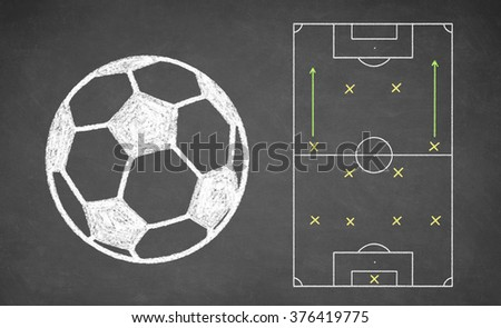 Soccer ball and tactical scheme drawn on chalkboard. White chalk and balckboard - stock photo