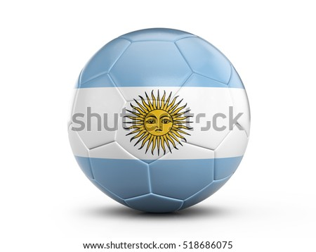 Soccer ball Argentina flag on a white background. 3D illustration.