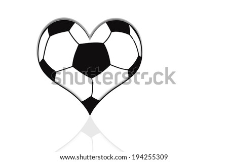Soccer ball as a heart, love Soccer, isolated on white - stock photo
