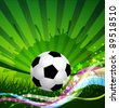 Soccer Ball background, grass and colorful wave (JPEG version) - stock vector