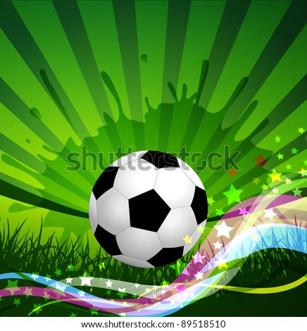 Soccer Ball background, grass and colorful wave (JPEG version)