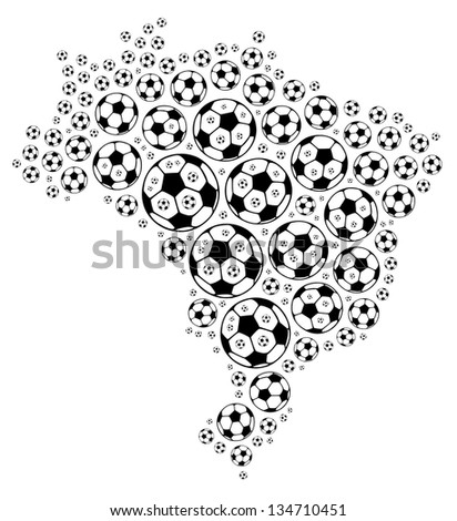 Soccer ball composed in the shape of Brazil map on white background