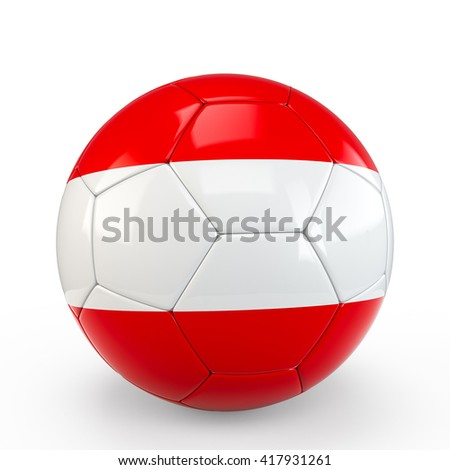 Soccer ball covered with Austria Austrian flag texture isolated on white background. 3D Rendering, 3D Illustration. - stock photo