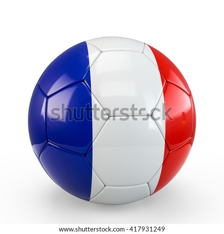 Soccer ball covered with France French flag texture isolated on white background. 3D Rendering, 3D Illustration.
