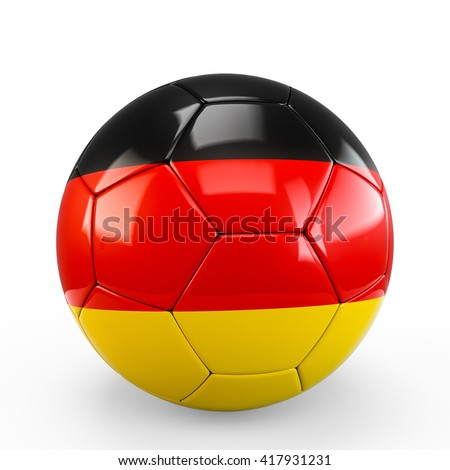 Soccer ball covered with Germany German flag texture isolated on white background. 3D Rendering, 3D Illustration.