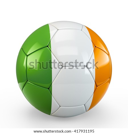 Soccer ball covered with Ireland Irish flag texture isolated on white background. 3D Rendering, 3D Illustration.