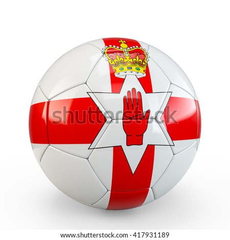 Soccer ball covered with Northern Ireland flag texture isolated on white background. 3D Rendering, 3D Illustration.